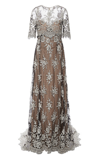 Medium marchesa dark grey re embroidered lace gown