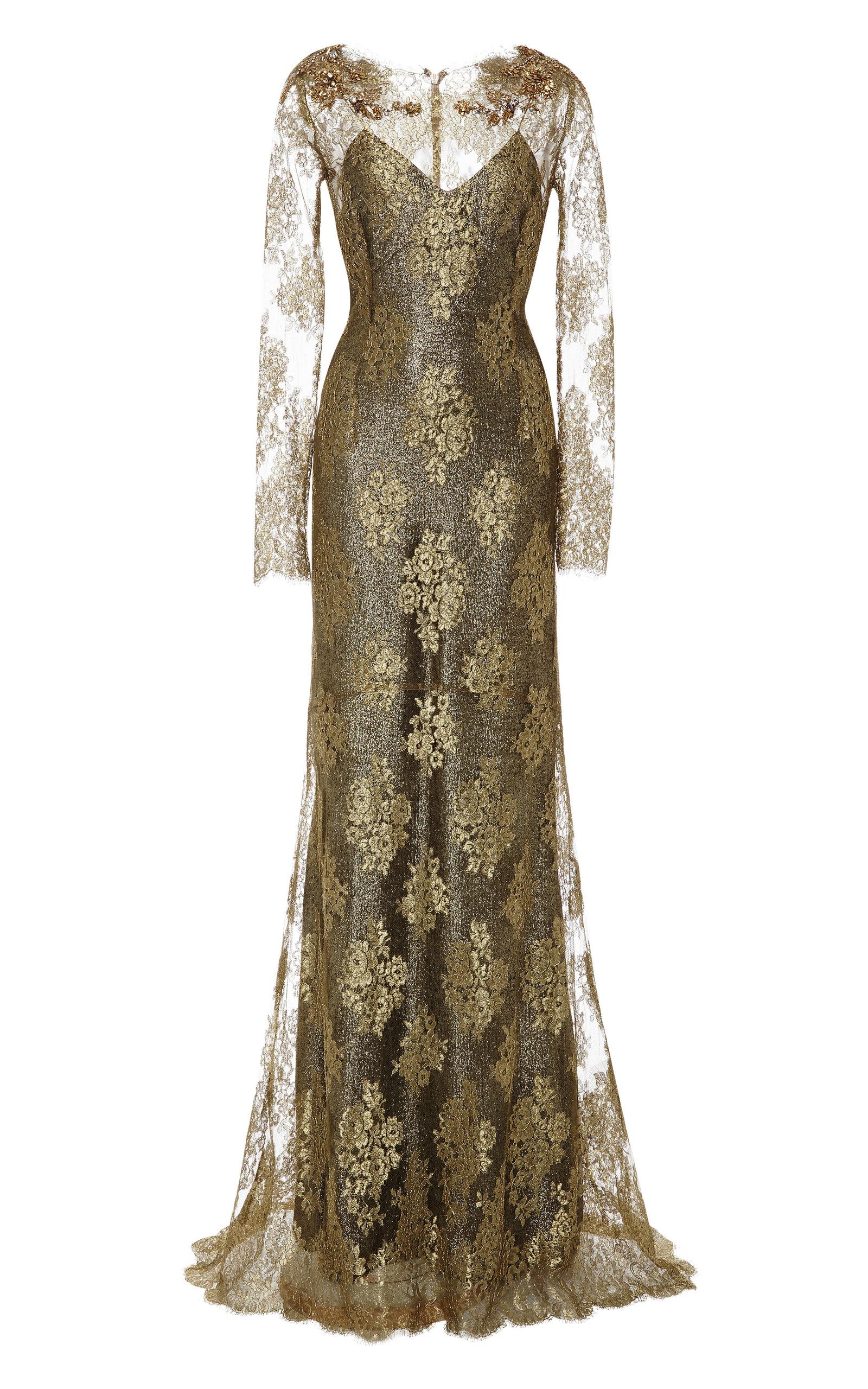 Gold Metallic Lace Column Gown by Marchesa | Moda Operandi
