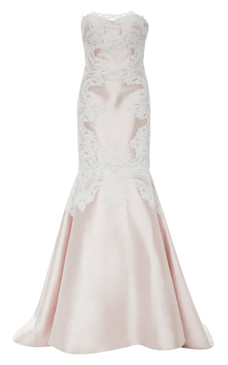 Medium marchesa pink blush silk wool mermaid gown with corded lace