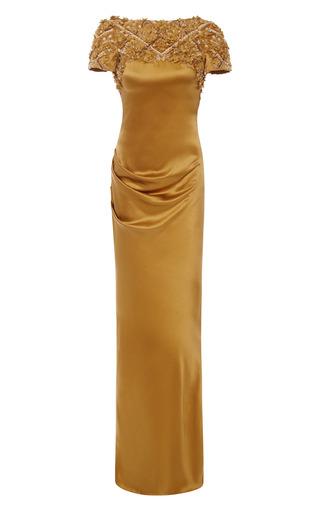 Medium marchesa gold saffron silk crepe open back gown