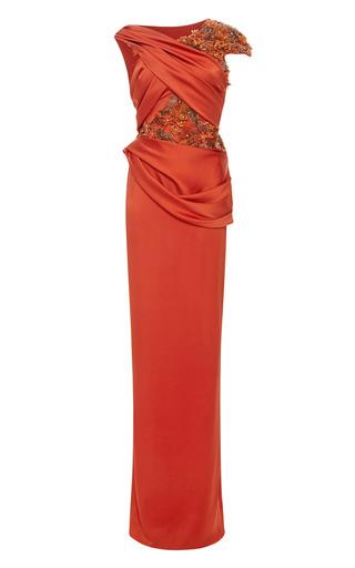 Medium marchesa red persimmon silk crepe hand draped gown