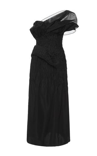 Medium marchesa black black silk faille one shoulder cocktail dress
