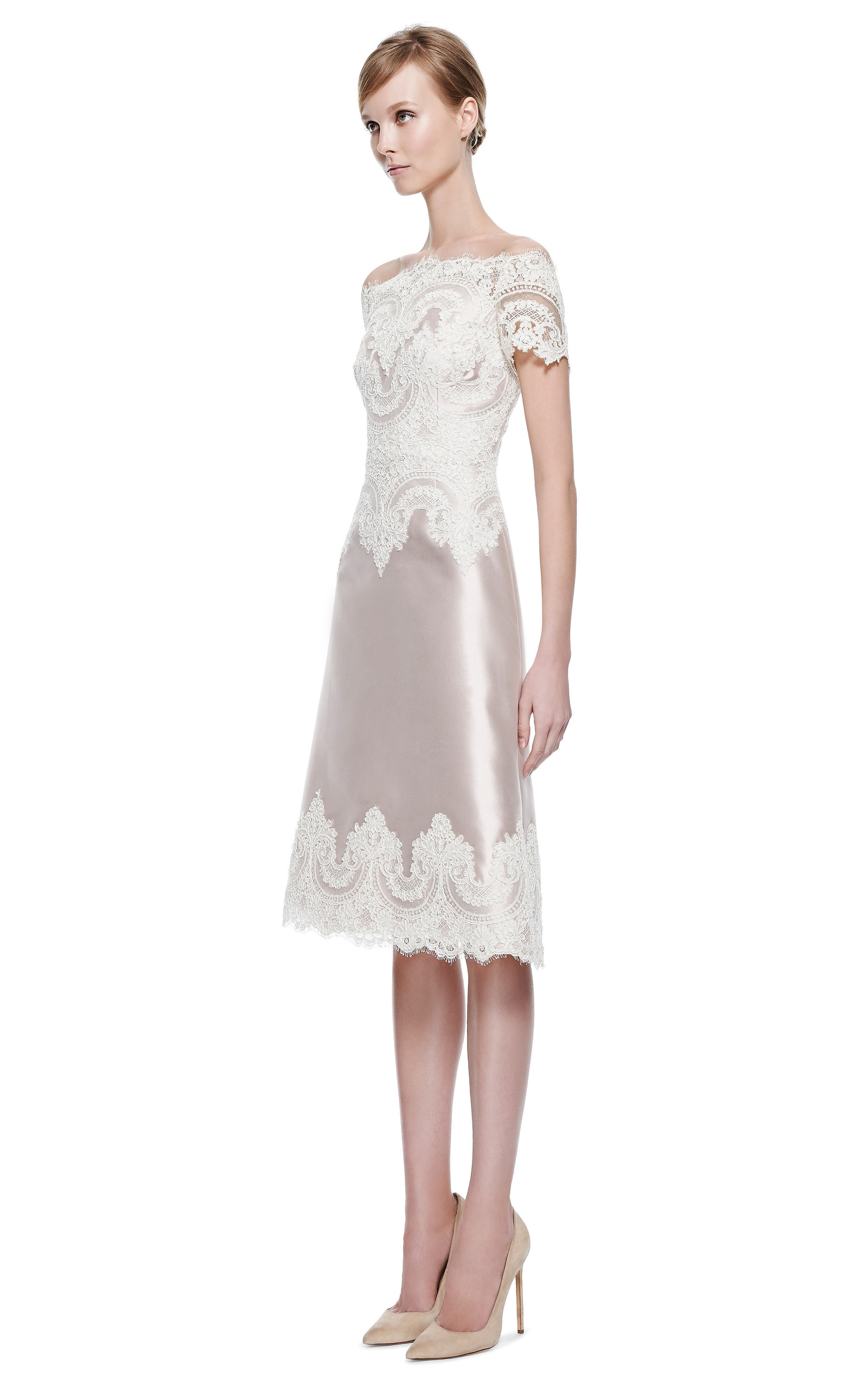 Blush Silk Wool Cocktail Dress With Engineered Lace Trim by Marchesa ...
