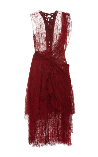 Medium marchesa red red chantilly lace deconstructed kilt cocktail dress