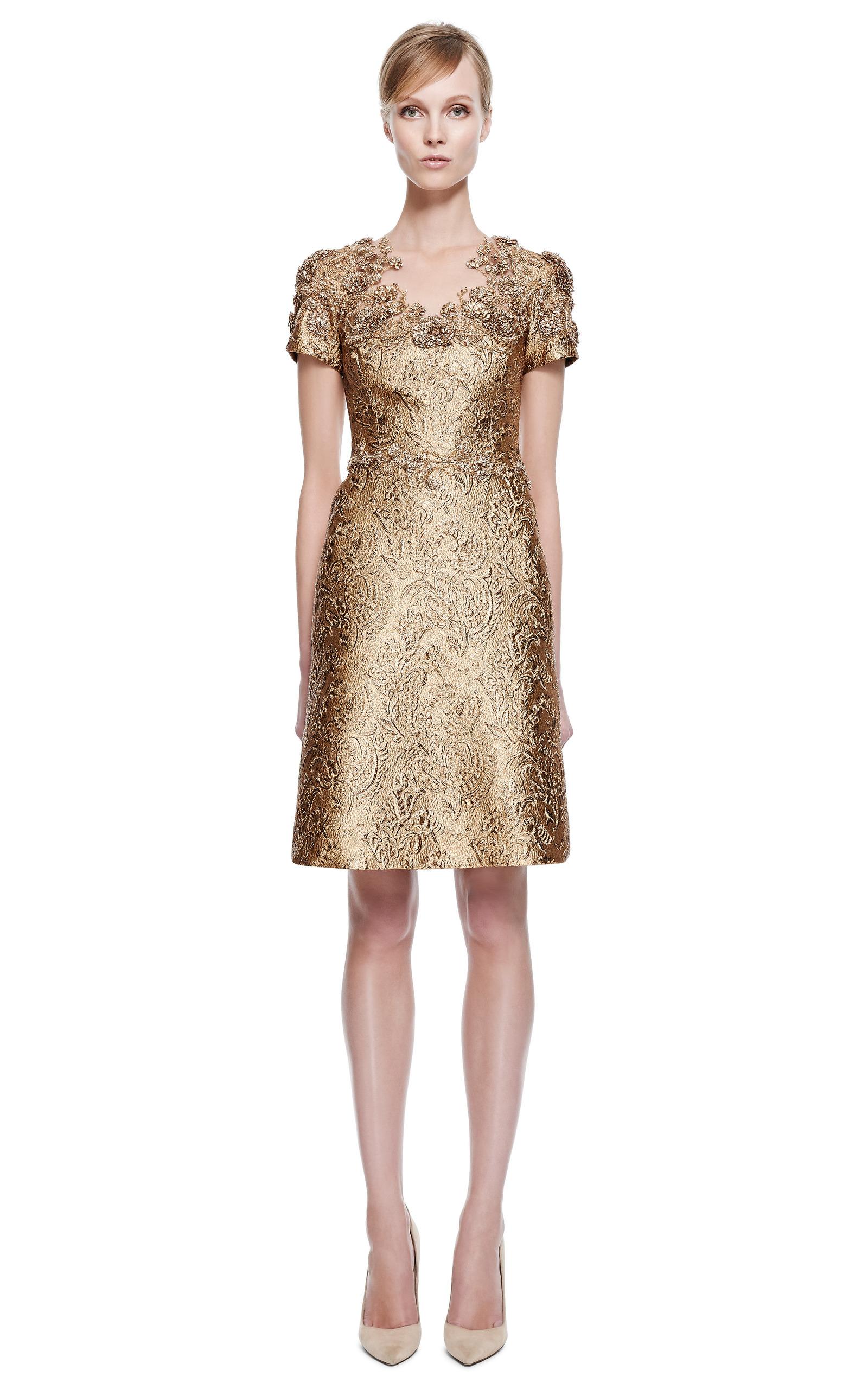 Embroidered Metallic Brocade Cocktail Dress by Marchesa | Moda Operandi