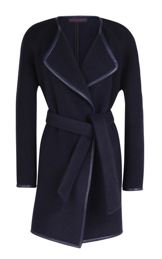 Medium martin grant navy the robe coat with leather trim