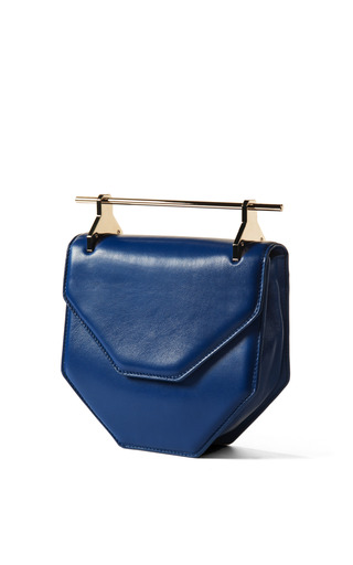 Medium m2malletier blue amorfati in royal blue with gold hardware