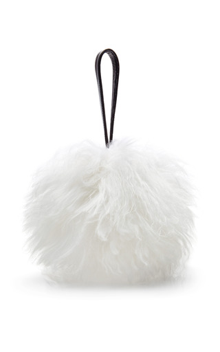 Medium tanya taylor white molly mongolian fur bag in white