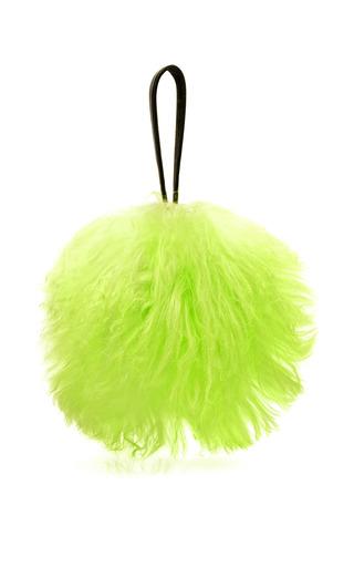 Medium tanya taylor green molly mongolian fur bag in acid yellow