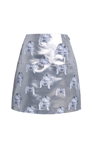 Medium tanya taylor silver anna metallic camera jacquard mini skirt