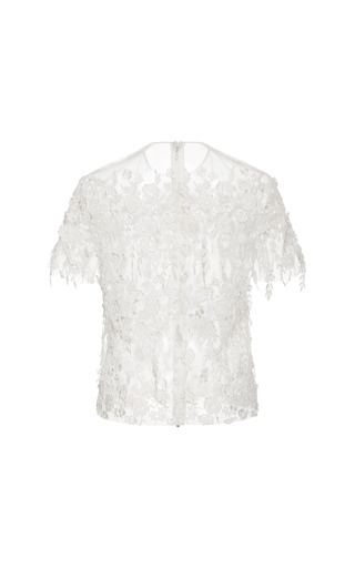 Fringed Floral Guipure Tee by KATIE ERMILIO for Preorder on Moda Operandi
