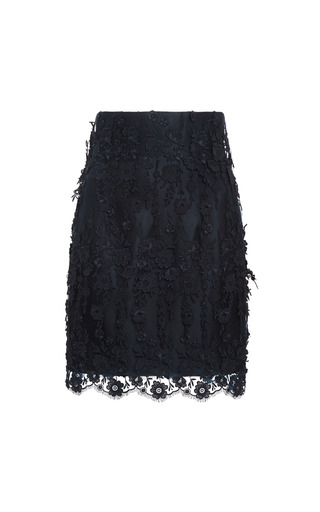 Fringed Floral Guipure Mini Skirt by KATIE ERMILIO for Preorder on Moda Operandi