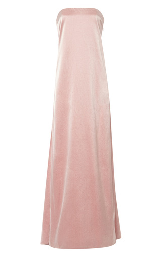 Medium katie ermilio red watteau pleat back gown