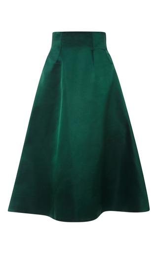 Medium katie ermilio green seamed satin swing skirt