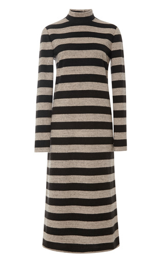 Medium tibi multi cozy stripe turtleneck long sleeve dress