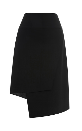 Medium tibi black edie tropical wool asymmetrical skirt