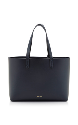 Medium mansur gavriel blue mini calf tote in navy with navy interior