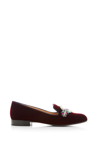 Medium mary katrantzou burgundy scott loafer with emblem embroidery