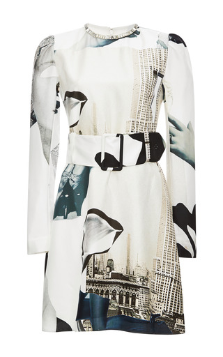Medium carven white printed silk belted dress with crystal collar