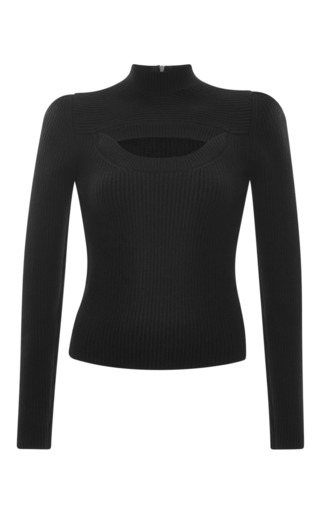 Medium carven black rib sweater with cut out