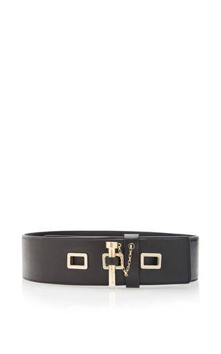 Medium carven black smooth leather belt