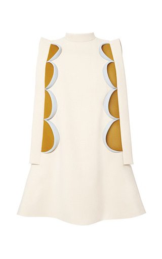 Medium delpozo white a line mini dress with patchwork 2