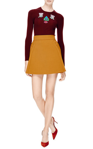 Crepe A Line Mini Skirt by DELPOZO Now Available on Moda Operandi