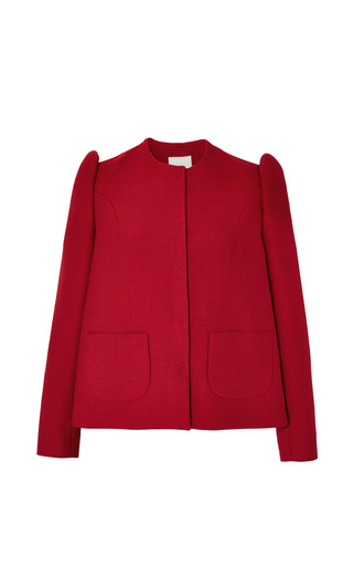 Medium delpozo red long sleeved over shirt in red