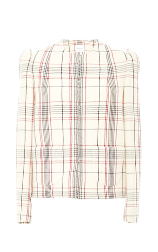Medium delpozo brown long sleeved over shirt in beige plaid