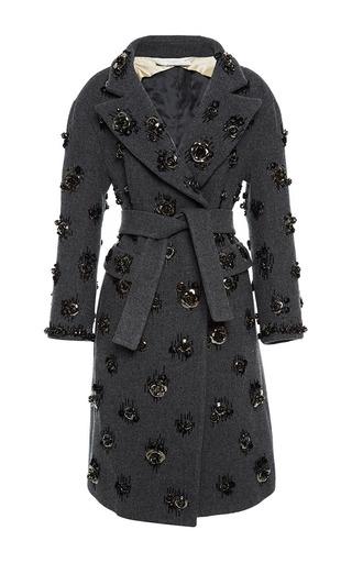 Medium aquilano rimondi dark grey charcoal coat with steel rose embroidery 2