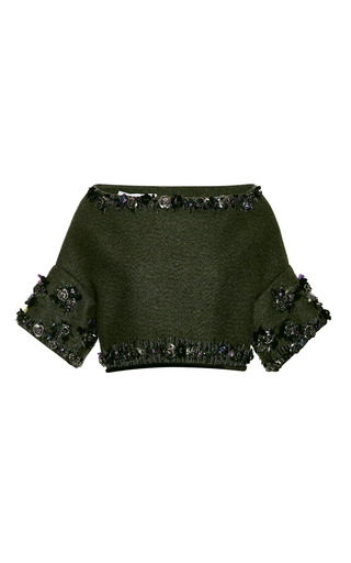 Medium aquilano rimondi green green wool felt crop top with rose embroidery 2