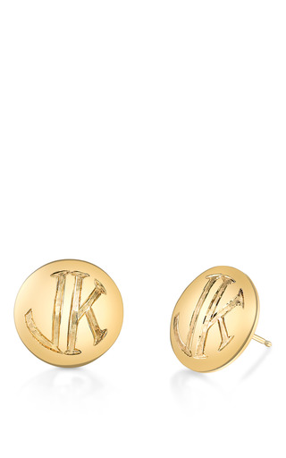 Medium mannin fine jewelry gold mannin fine jewelry 18k gold monogram earrings