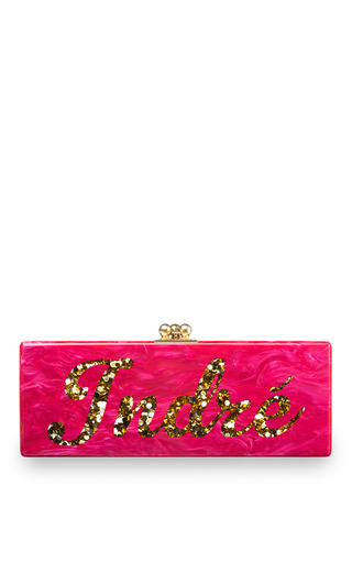 Medium edie parker pink edie parker customizable flavia clutch in hot pink with gold confetti script text