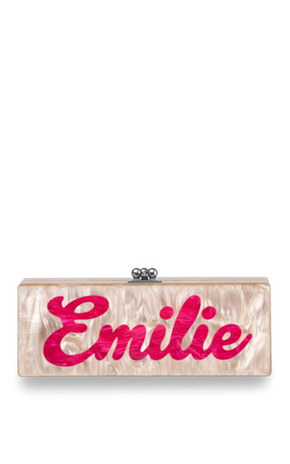 Medium edie parker pink edie parker customizable flavia clutch in light pink with hot pink text