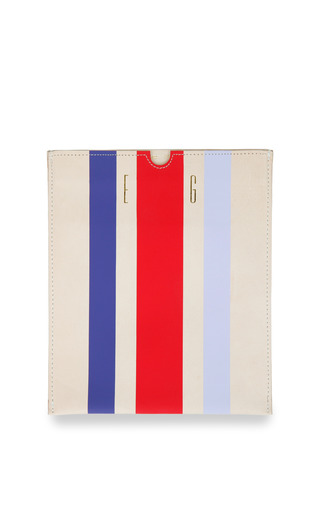Medium clare vivier multi clare v ipad sleeve with royal purple red and lavender stripes initials mc