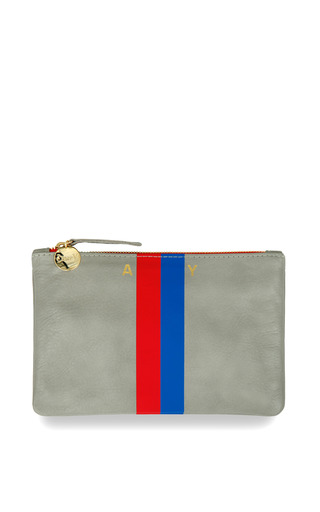 Clare V. Grey Wallet Clutch With Red And Royal Blue Stripes by CLARE V. for Preorder on Moda Operandi