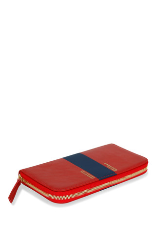 Clare V. Red Amalfi Zip Wallet With Navy Stripe Initials Ht by CLARE V. for Preorder on Moda Operandi