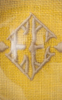 Julia B. Paperweight Yellow With Beige Embroidery by JULIA B. COUTURE LINENS for Preorder on Moda Operandi