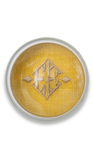 Medium julia b couture linens yellow julia b paperweight yellow with beige embroidery