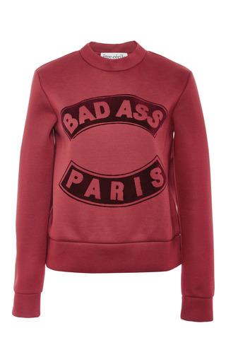 Medium etre cecile burgundy badass flock slim fit neoprene sweatshirt