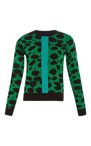 Medium etre cecile green cheetah crop knit