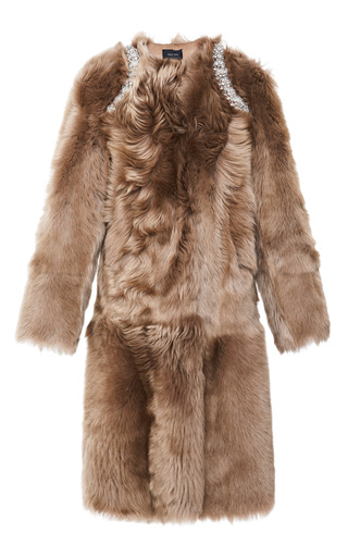 Medium simone rocha brown beaded shoulder sheepskin coat 2