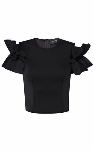 Medium simone rocha black jersey frill short sleeve top 2