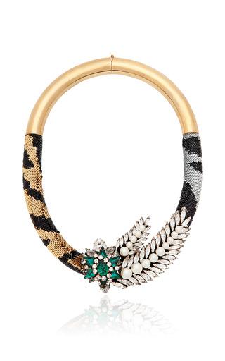 Medium shourouk multi aigrette tiger necklace in tiger and emerald