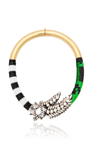 Aigrette Necklace In Zebra Green by SHOUROUK for Preorder on Moda Operandi