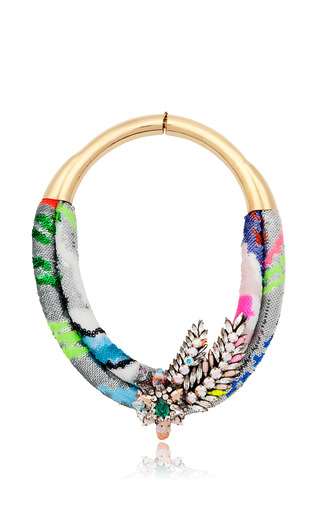 Double Aigrette Necklace In Multi by SHOUROUK for Preorder on Moda Operandi