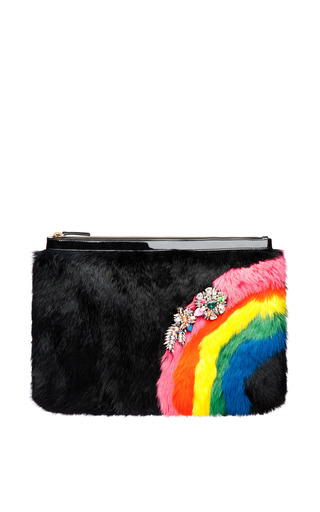 Medium shourouk black fur pochette in black rainbow