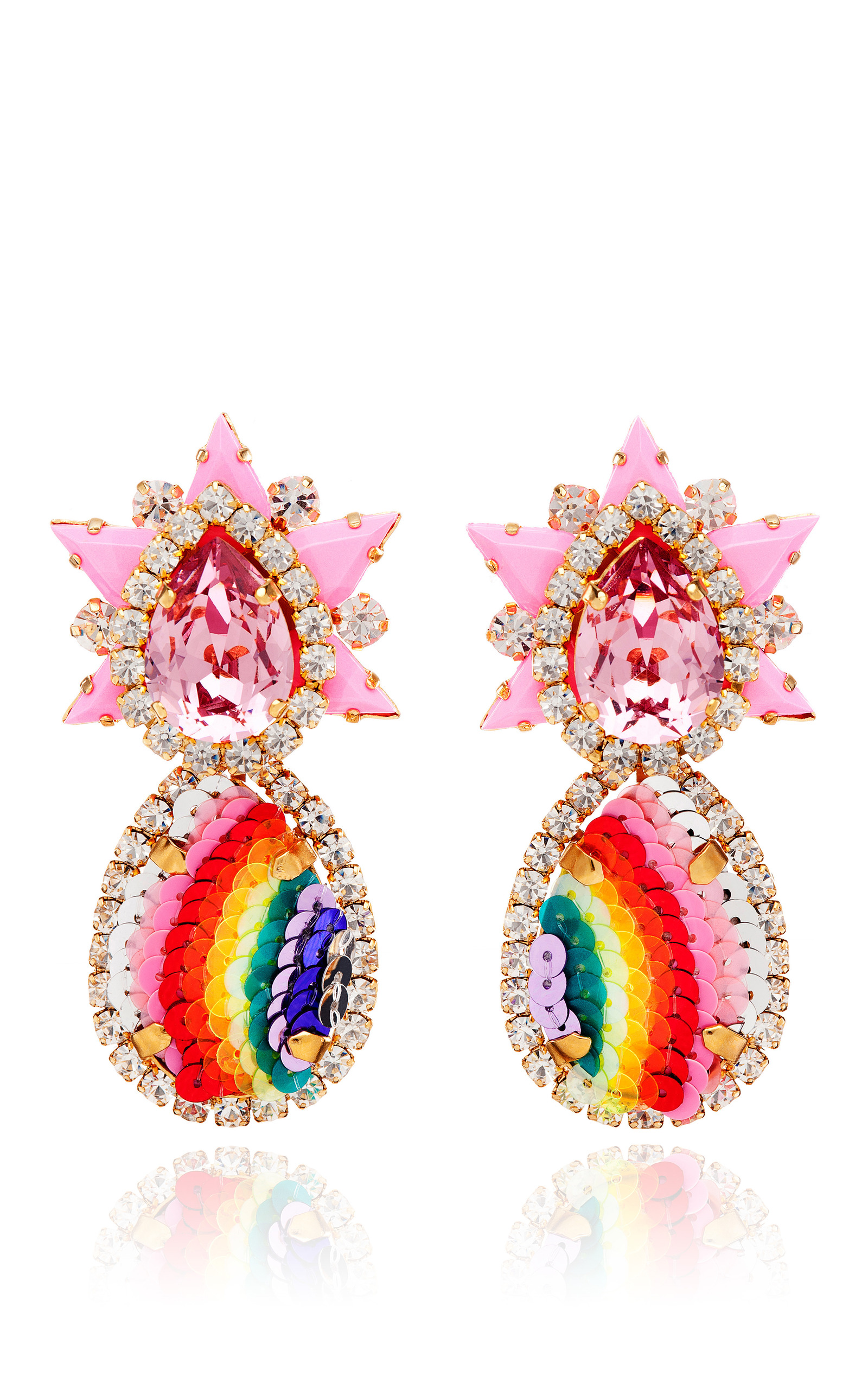 statement filled rainbow the cluster design star gold earrings dancing colorful gemstone
