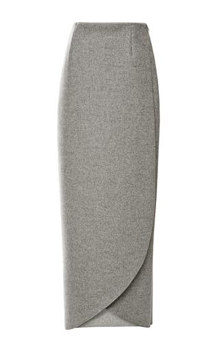 Medium rosie assoulin dark grey doubleface wool pencil wrap skirt 2