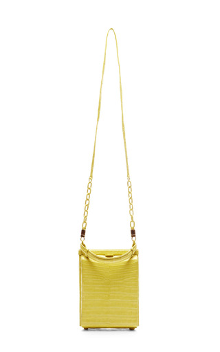 Lime Crocodile Top Handle Handbag With Shoulder Strap by NANCY GONZALEZ for Preorder on Moda Operandi